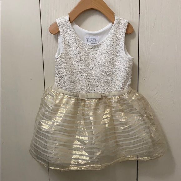 The Children's Place White & Gold Formal Dress
